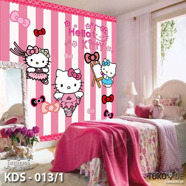 WALLPAPER DINDING ANAK DORAEMON HELLO KITTY (Bahan Flexi / Banner)3