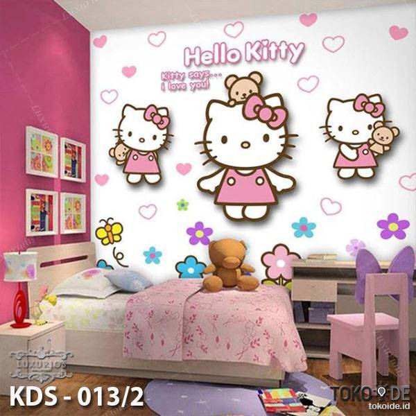 WALLPAPER DINDING ANAK DORAEMON HELLO KITTY (Bahan Flexi / Banner)4