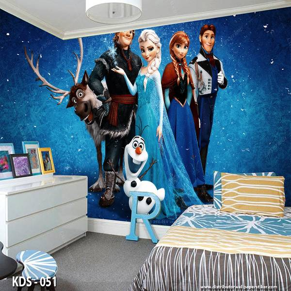 3D Custom Wallpaper Dinding - Motif  Frozen/Elsa | KDS - 0510