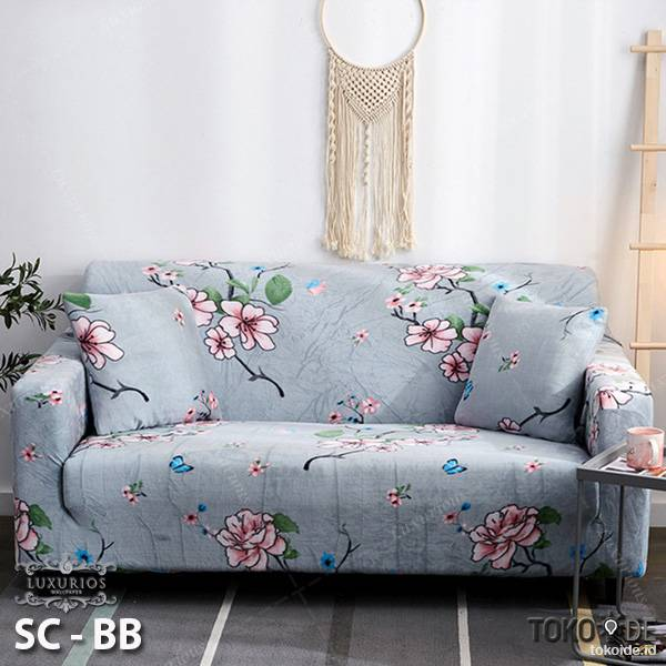 Elastic Sofa Cover Pattern / Sarung Penutup Sofa Elastis Stretch | SOFA COVER BUNGA 1 SEATER0