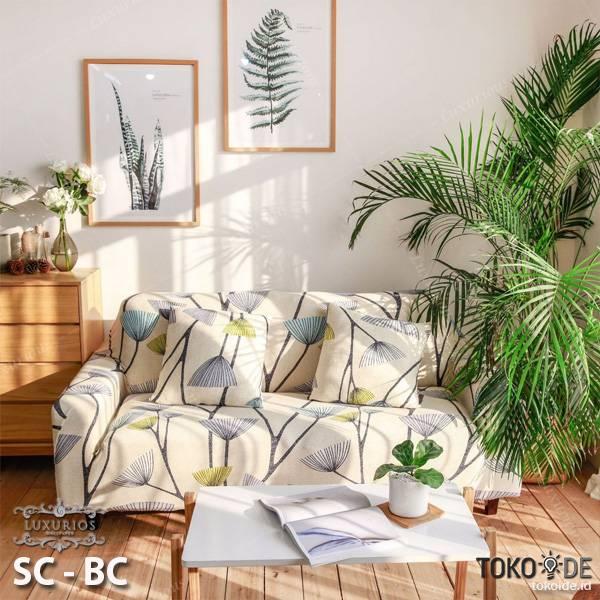 Elastic Sofa Cover Pattern / Sarung Penutup Sofa Elastis Stretch | SOFA COVER BUNGA 3 SEATER1