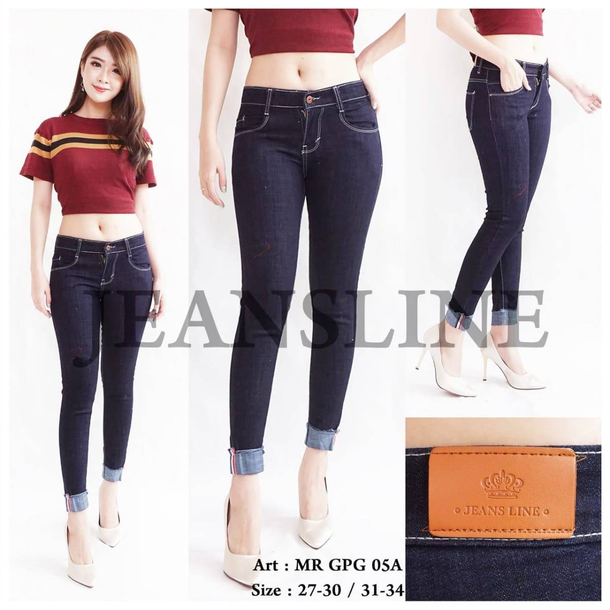Celana Panjang Jeans Ladies (mr Gpg 05a) - Paket 4 Pcs - Size 27, 28, 29, 303