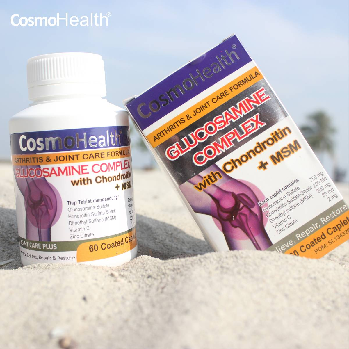 Cosmohealth Glucosamine Complex With Chondroitin + Msm 60 Coated Caplets (6 Botol)