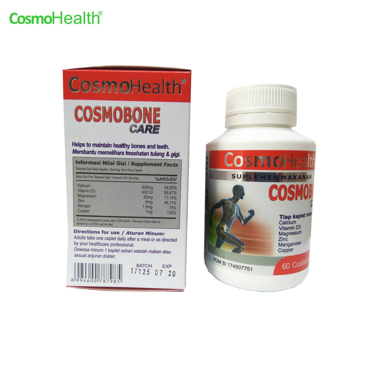 Cosmohealth Cosmobone Care 60 Coated Caplets (2 BOTOL + FREE 1 BOTOL)2