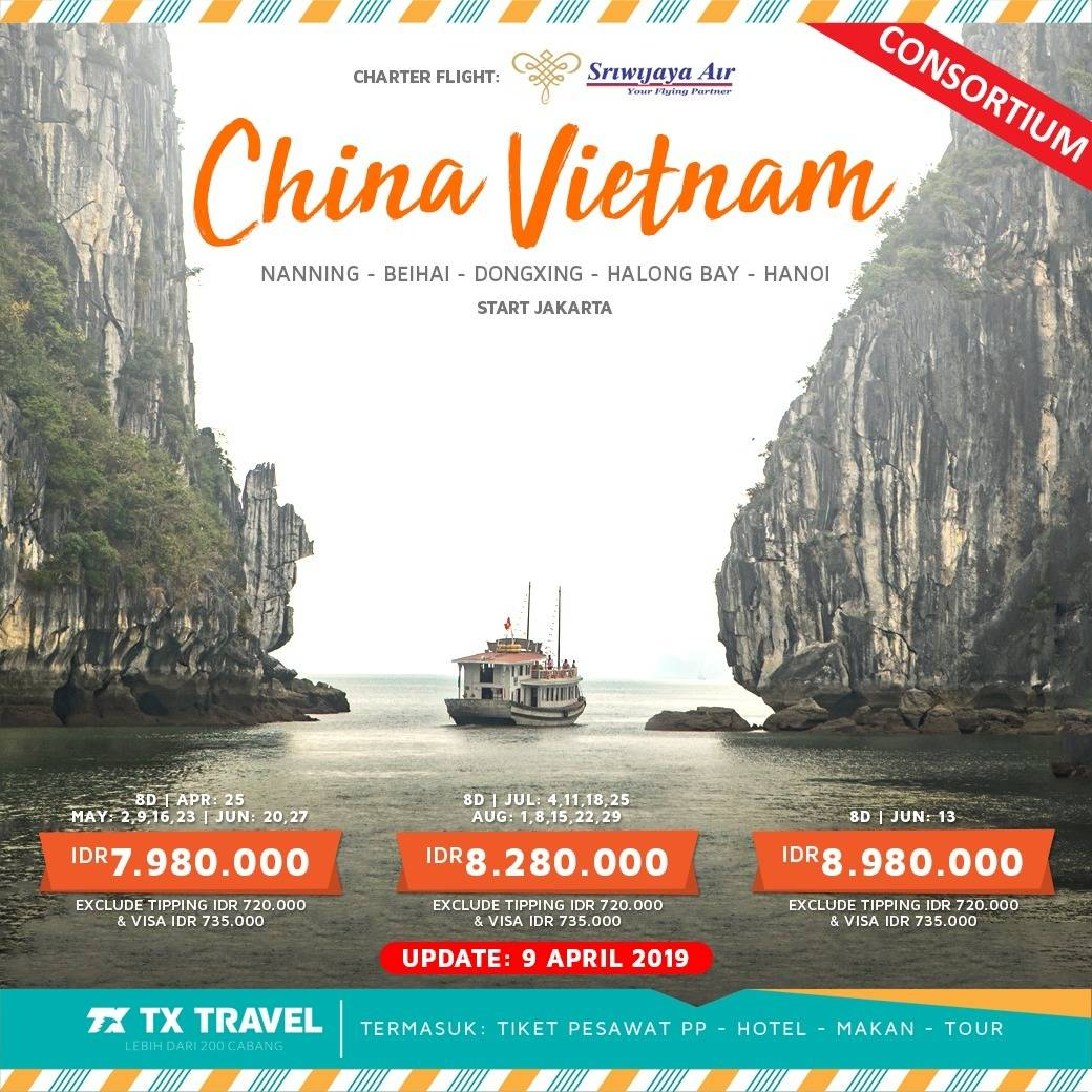 TOUR CHARTER FLIGHT, 2 NEGARA, 8D7N CHINA VIETNAM0