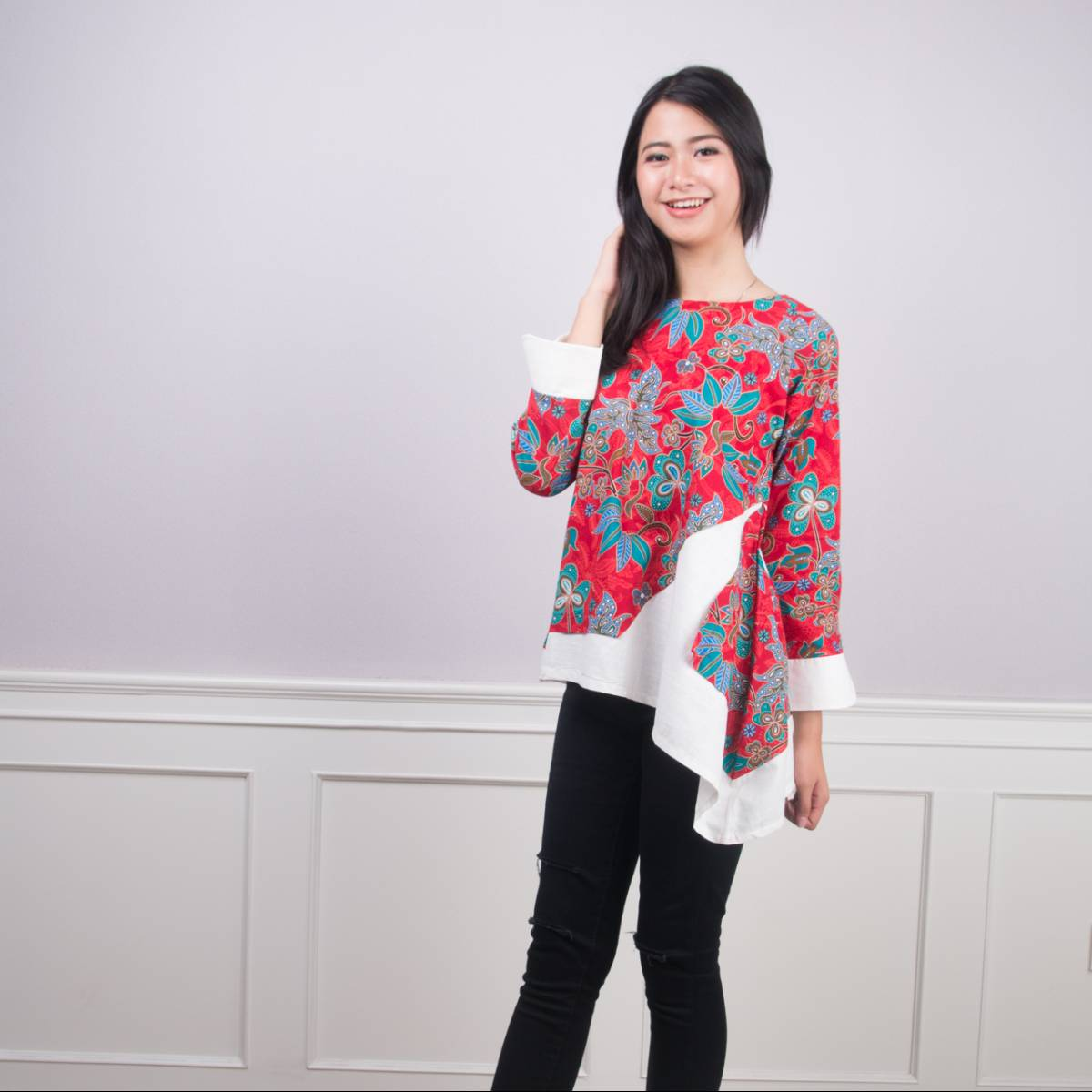Batik Wanita -Tina Top (Red)