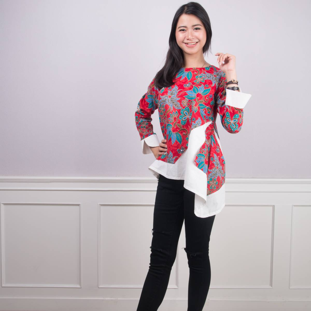 Batik Wanita -Tina Top (Red)1