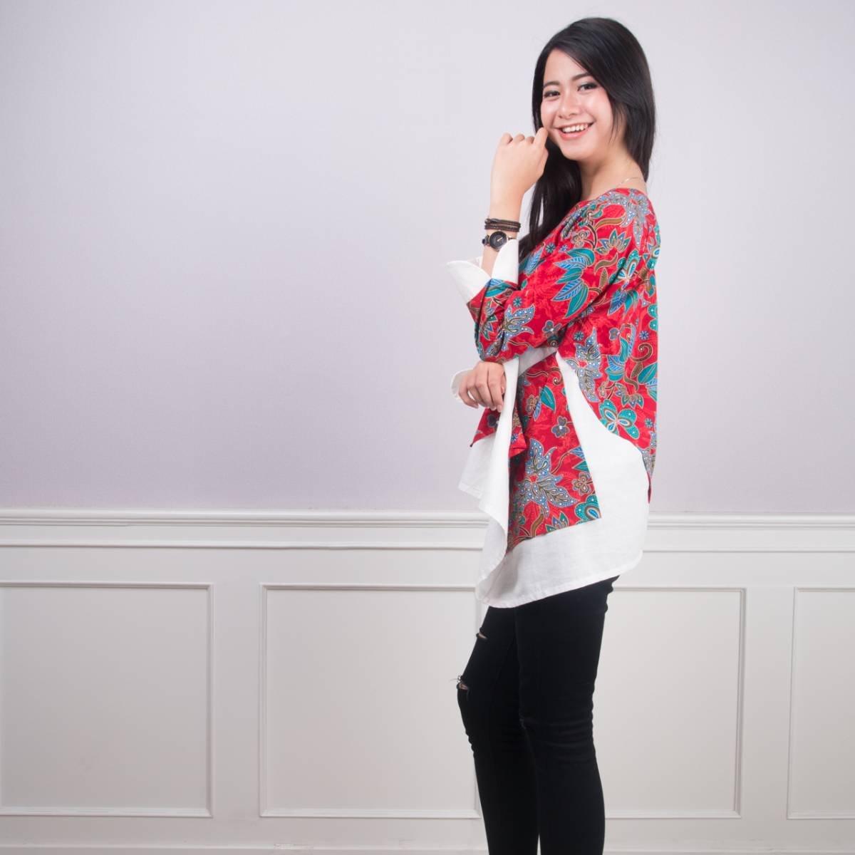 Batik Wanita -Tina Top (Red)2