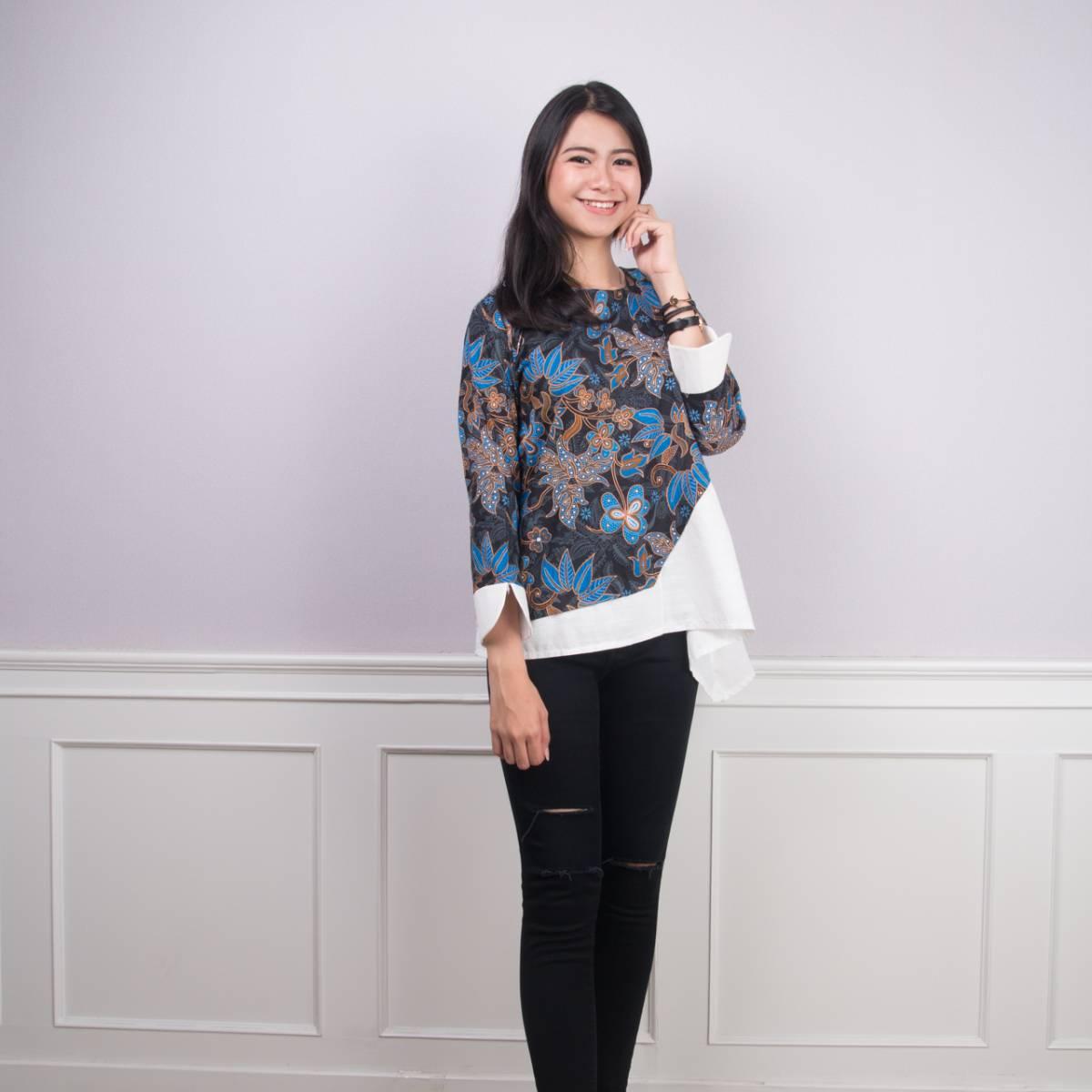 Batik Wanita -Tina Top (Blue)0