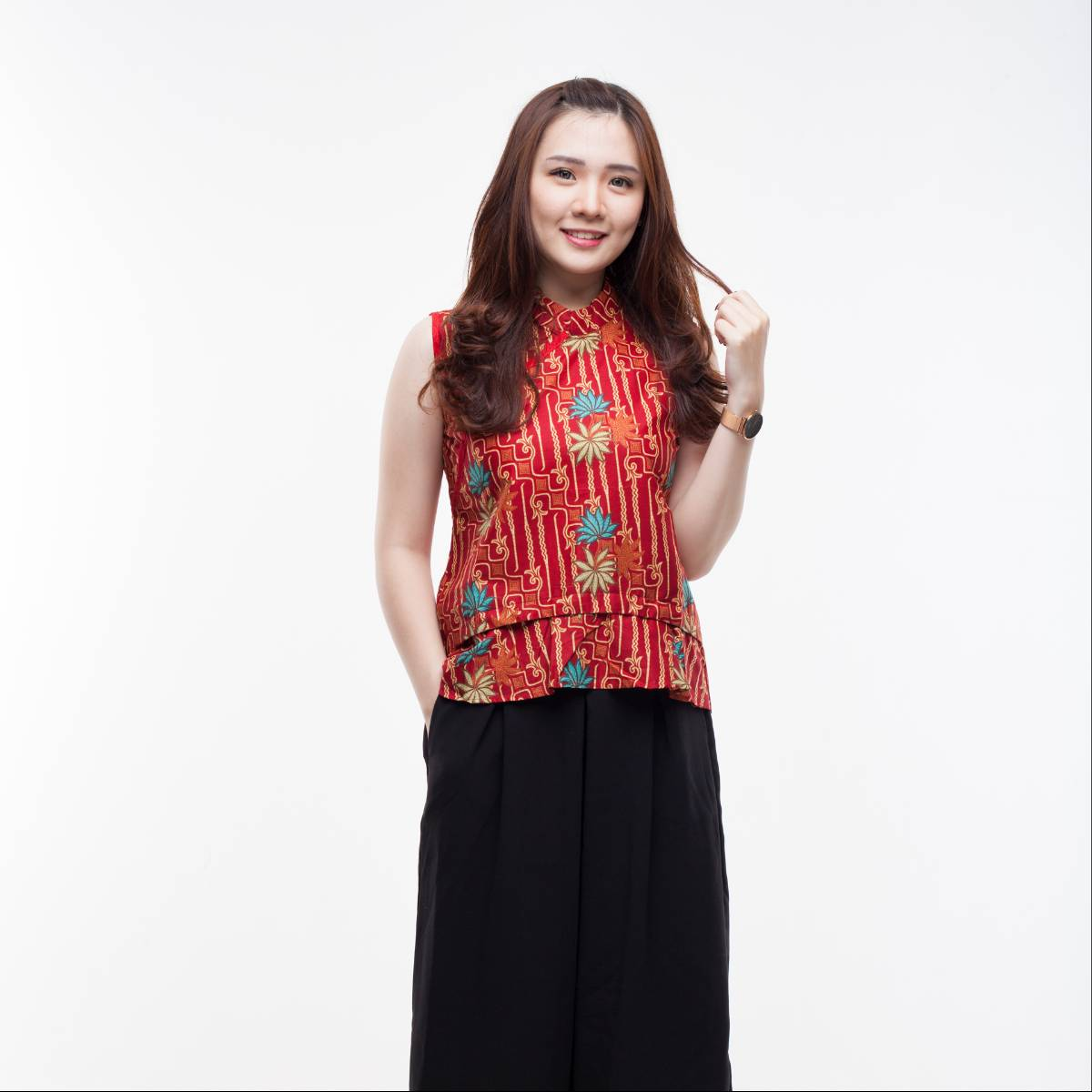Atasan Batik Wanita Modern- Amel Top (Red)