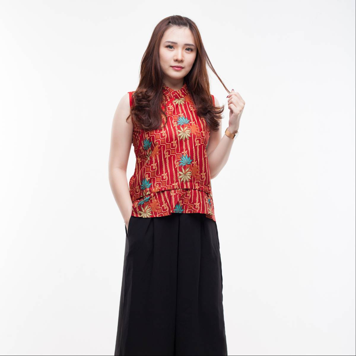 Atasan Batik Wanita Modern- Amel Top (Red)2
