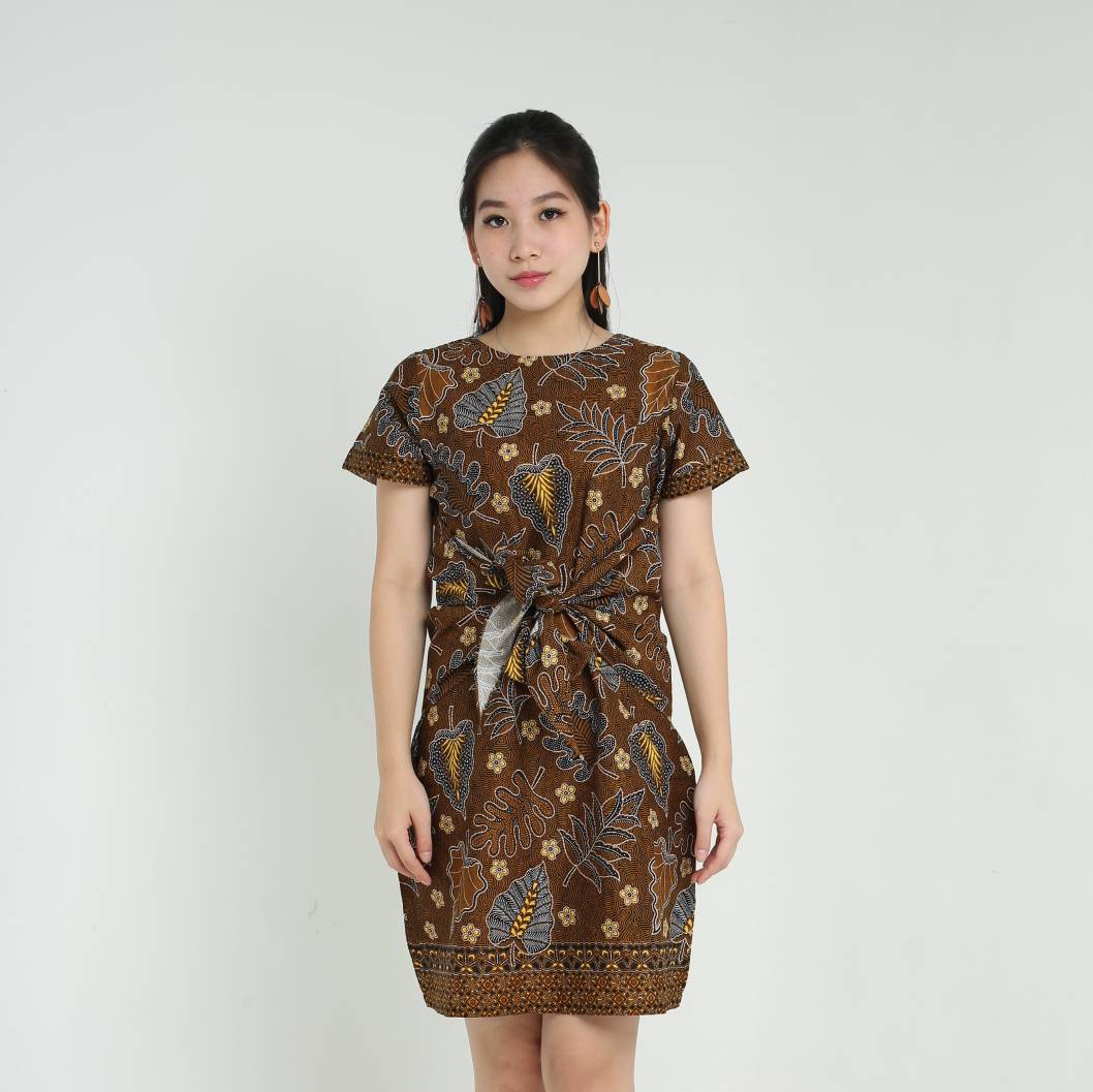 Dress Wanita Batik-Priska Dress (Brown)