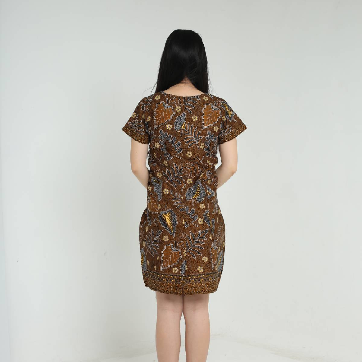 Dress Wanita Batik-Priska Dress (Brown)2