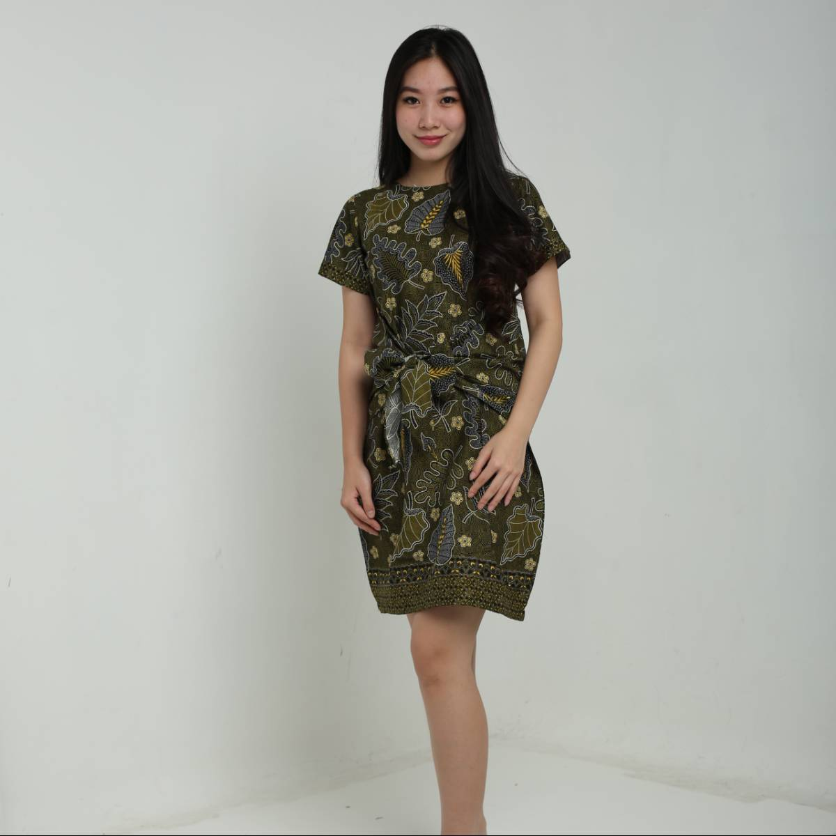Dress Wanita Batik -Priska Dress (Green)0