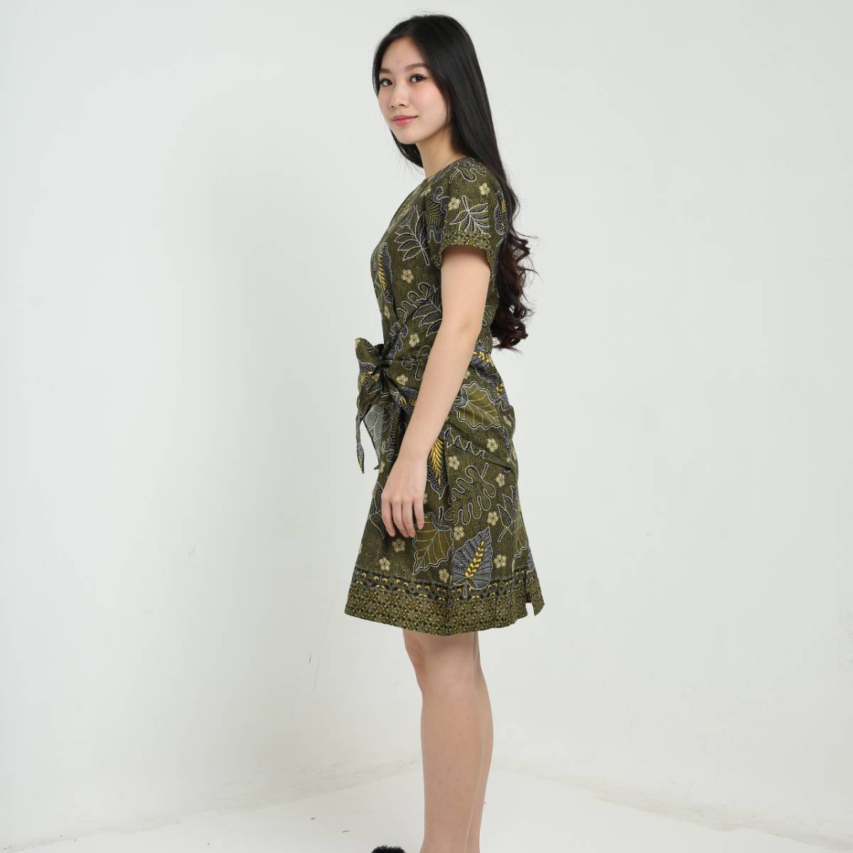 Dress Wanita Batik -Priska Dress (Green)1