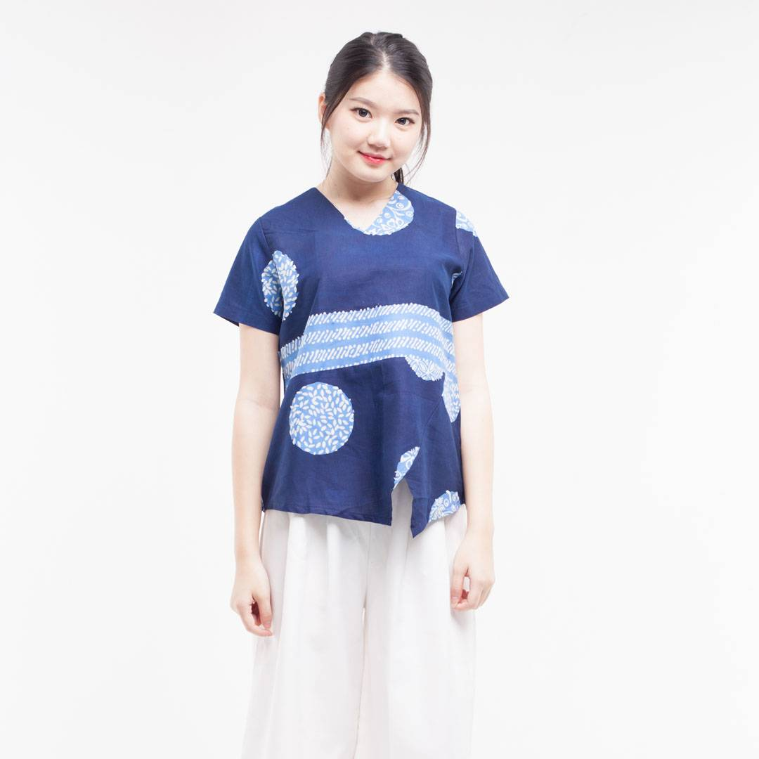 Batik Wanita-Vilia Top (Navy)