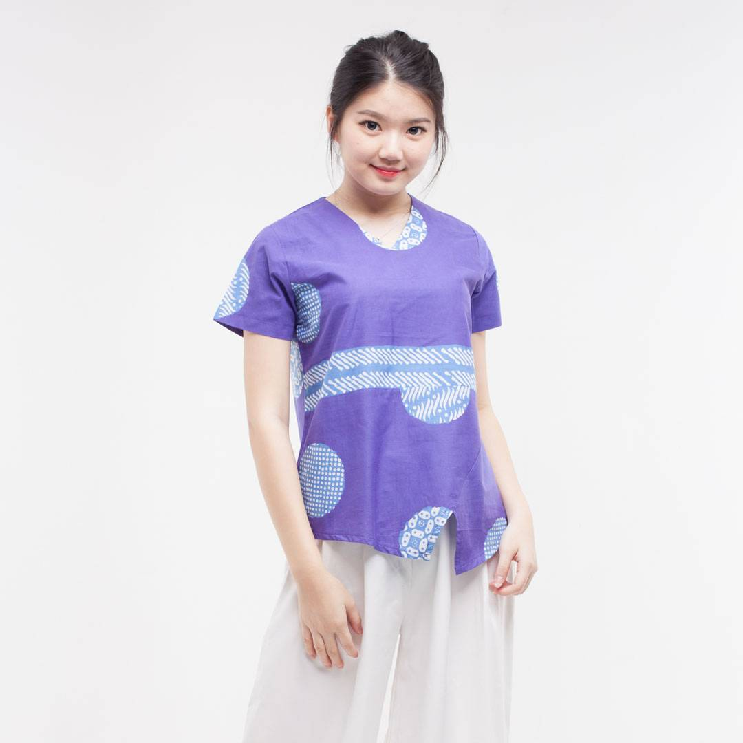 Batik Wanita-Vilia Top (Purple)