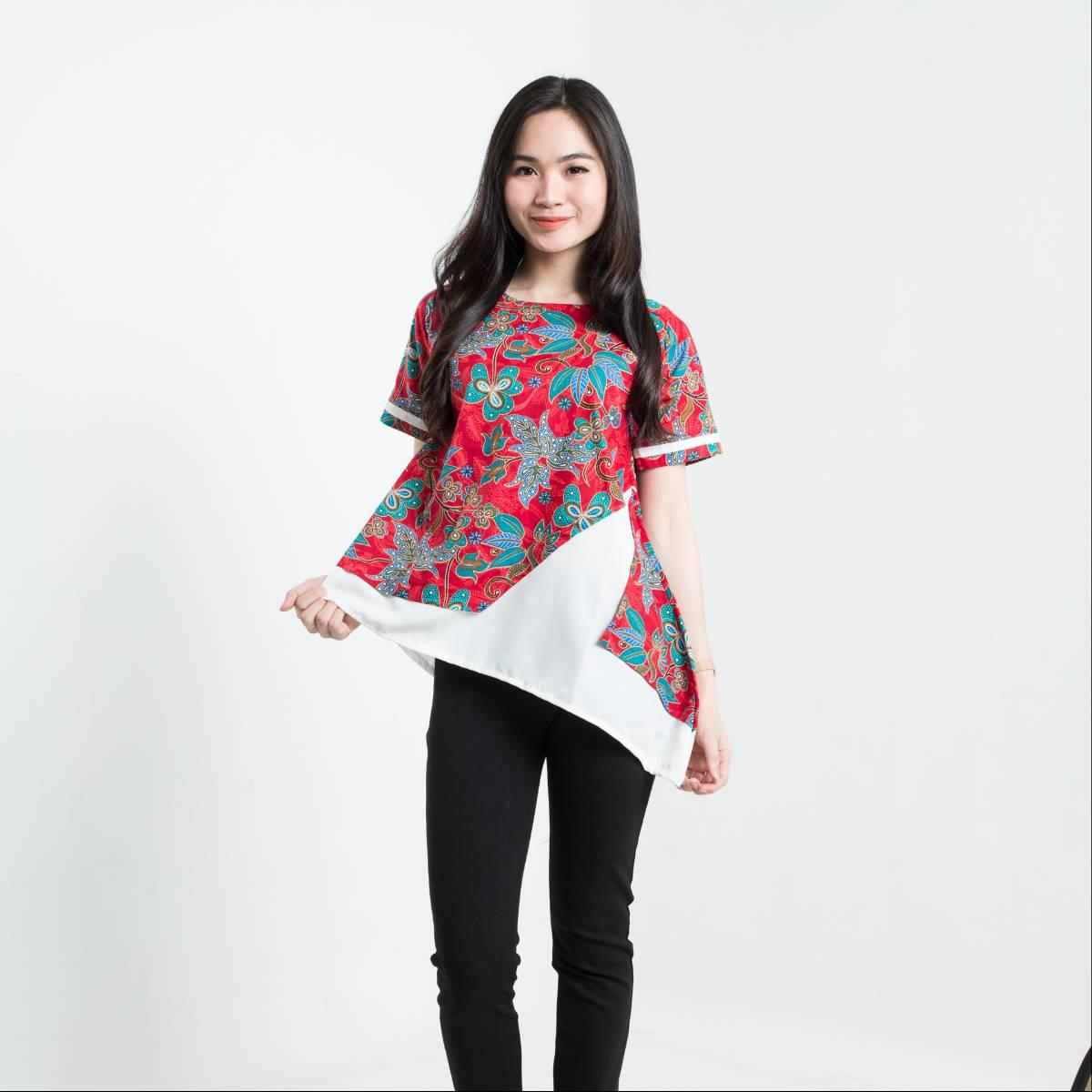 Batik Wanita-Tina Top Pendek (Red)