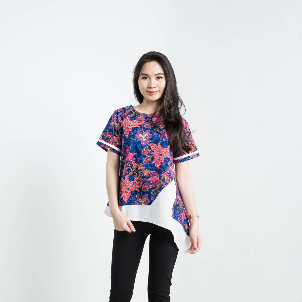 Batik Wanita-Tina Top Pendek (Navy)