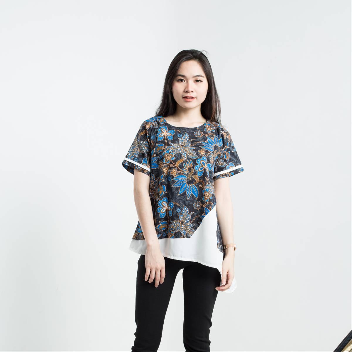 Batik Wanita-Tina Top Pendek (Blue)