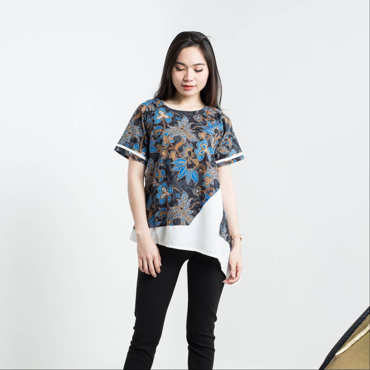 Batik Wanita-Tina Top Pendek (Blue)1