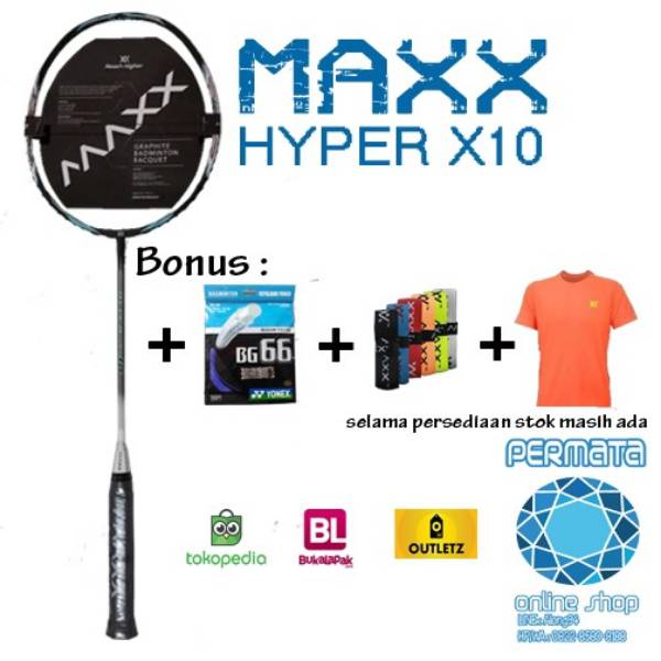 Raket Maxx Hyper X 10 Bonus Senar Bg 66 + Baju Maxx Best Seller ( Japan Technology )