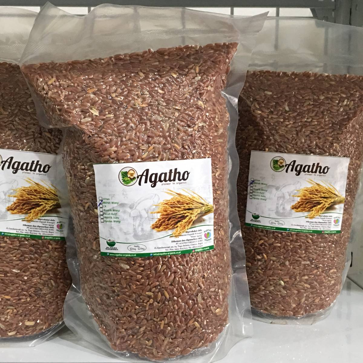 Beras Merah Organik AGATHO, 1 kg - Grade A