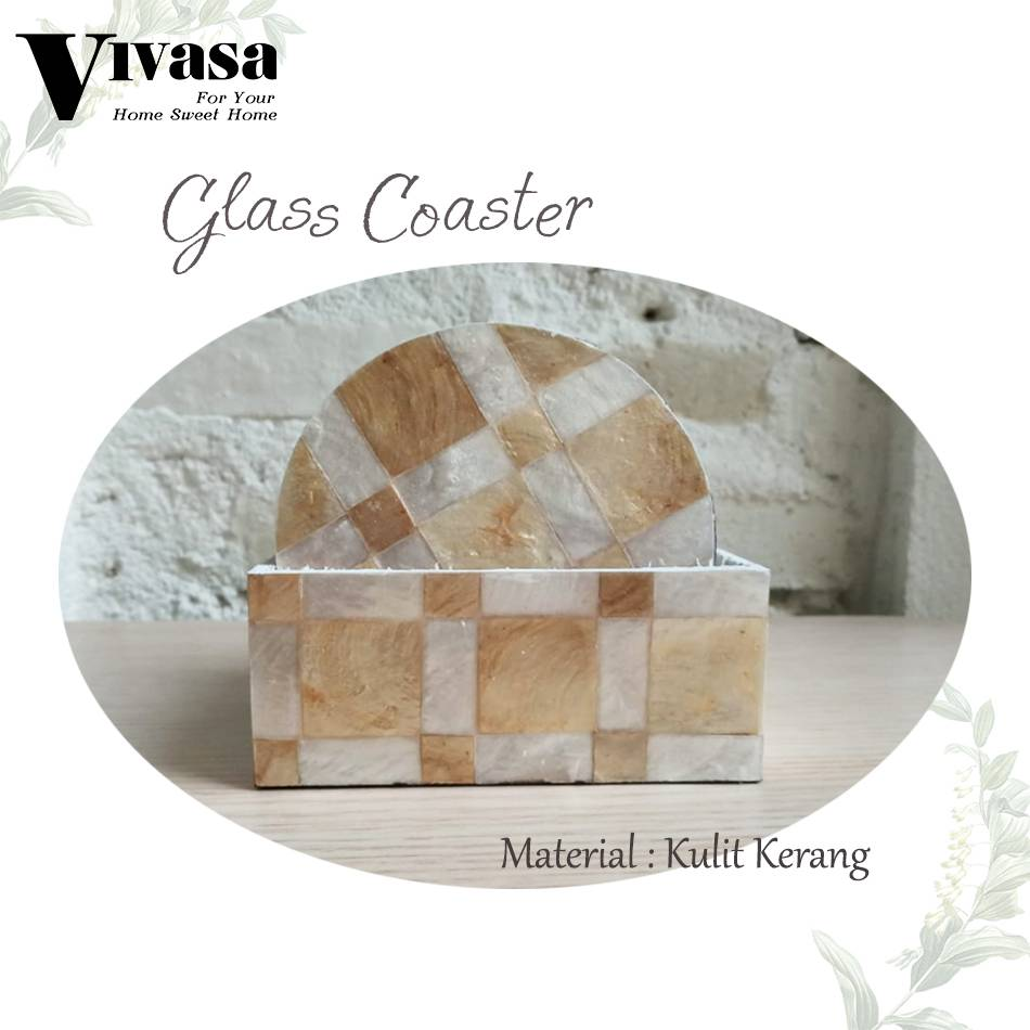 Maharani Outlet Glass Couster/Tatakan Gelas Lingkaran White Gold By
