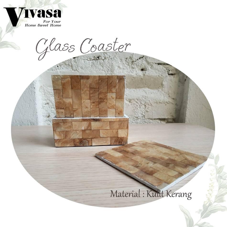 Maharani Outlet Glass Couster/Tatakan Gelas Persegi motif balok By Vivasa Creative2