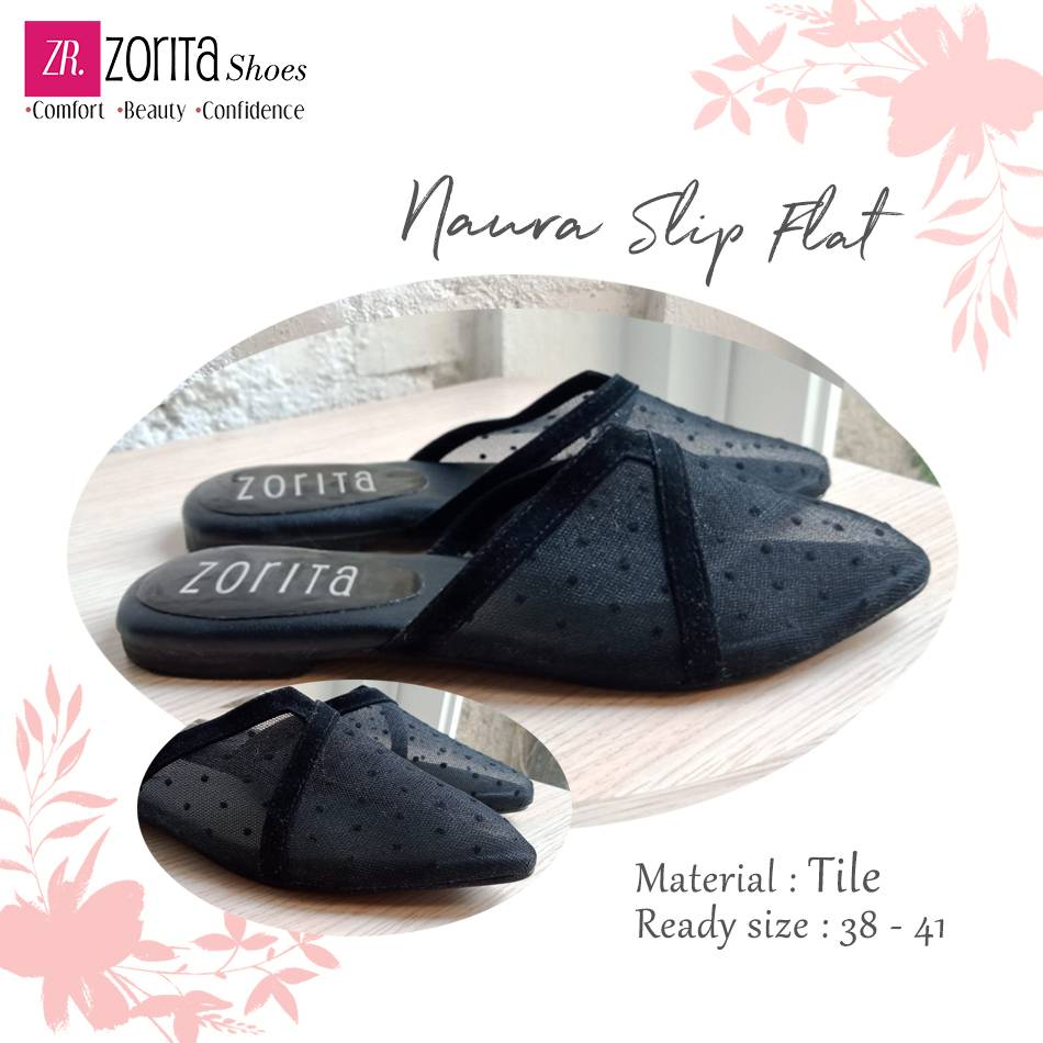 Maharani Outlet Selop Wanita Naura Slip Flat ZR 2313 hitam By Zorita Shoes