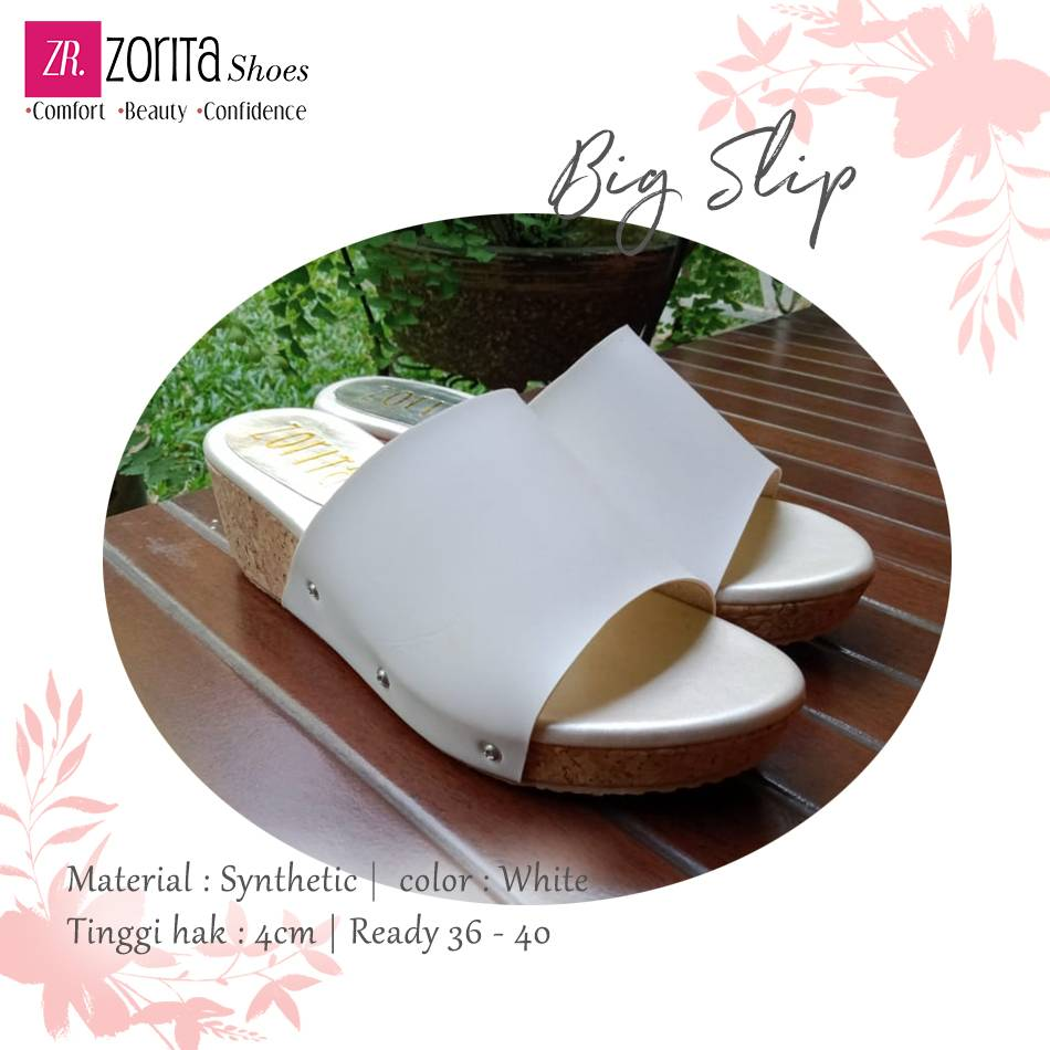 Maharani Outlet wedges wanita Big Slip white By Zorita Shoes