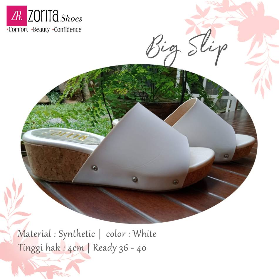Maharani Outlet wedges wanita Big Slip white By Zorita Shoes1