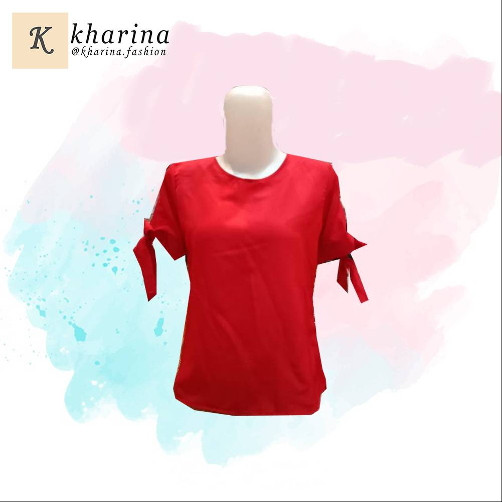 Maharani Outlet Casual Fashion Frayed Red Top by Kharia Boutique