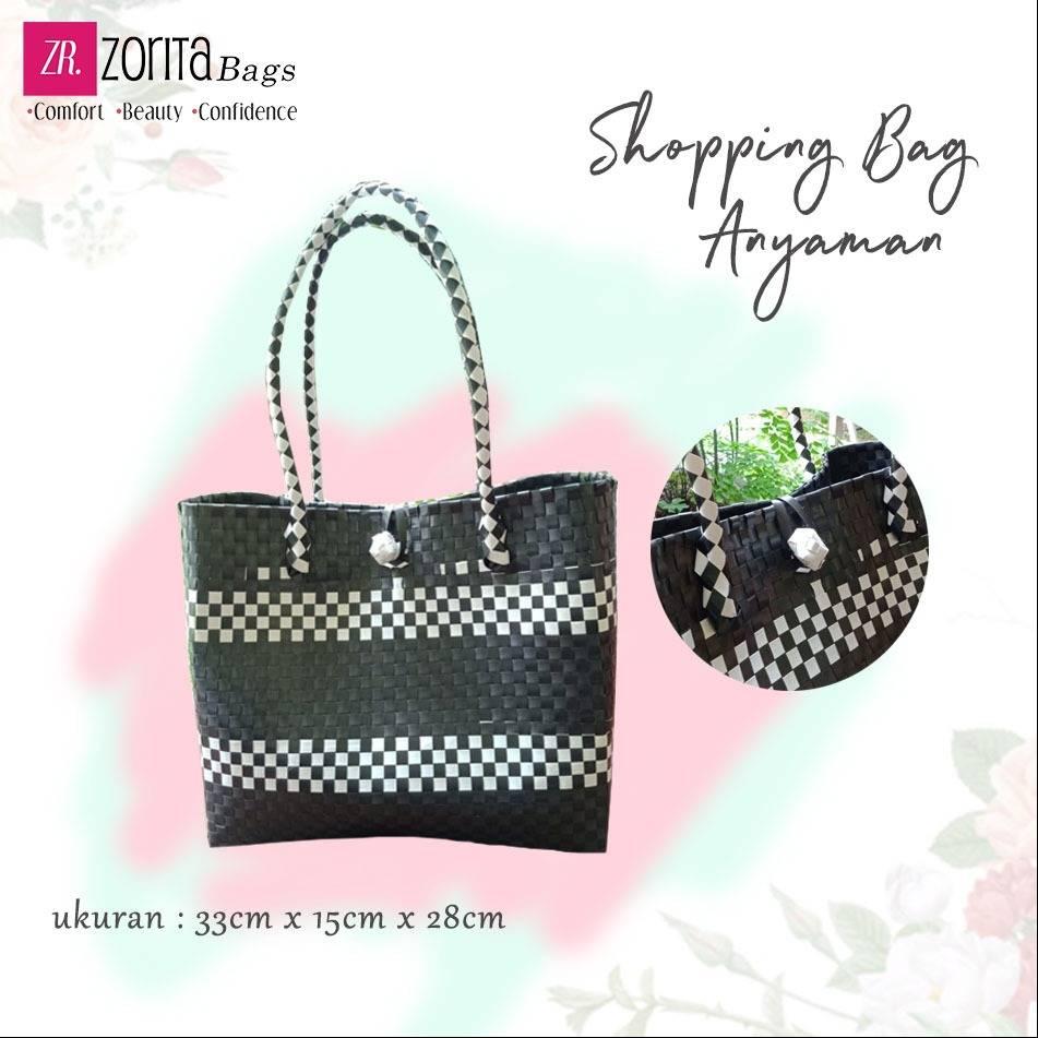 Maharani Outlet Shopping Bag Anyaman Hitam Putih 001 By Zorita Bags