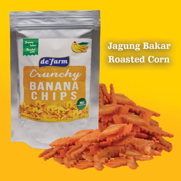 de'farm banana chip - keripik pisang spesial RASA JAGUNG BAKAR - ROASTED CORN