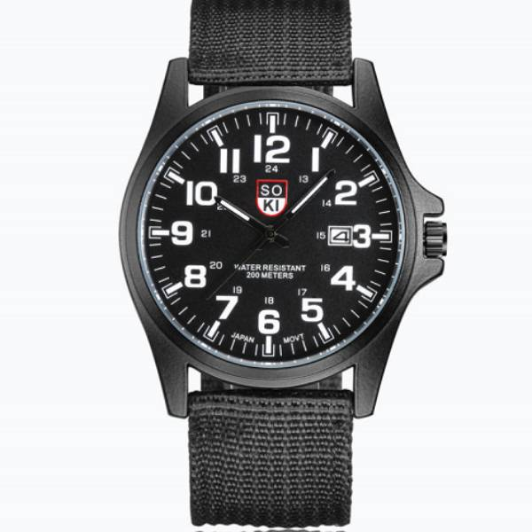 SOKI Man Black Strap Watch