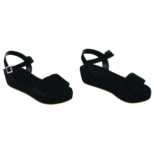 Sandal Wedges Kasual Hitam | CASTON