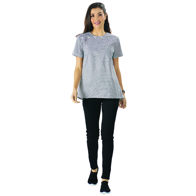 Blouse Strip Kancing Grey  | CARMEL