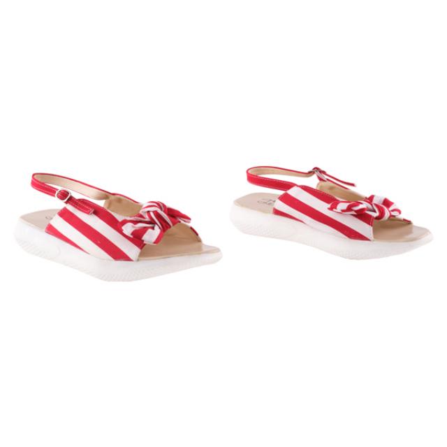 Sandal Wedges Anya Red / Wedges Strip Merah | BUNNY FEET