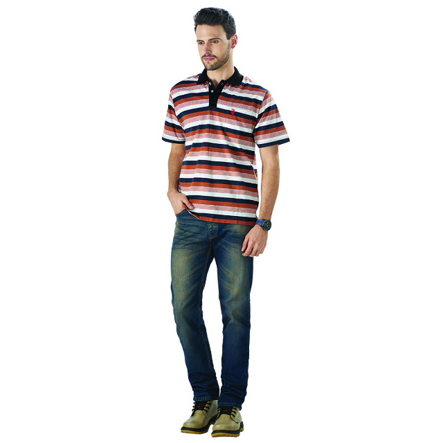 Kaos Polo Shirt Strip Cokelat | LA MONTEE