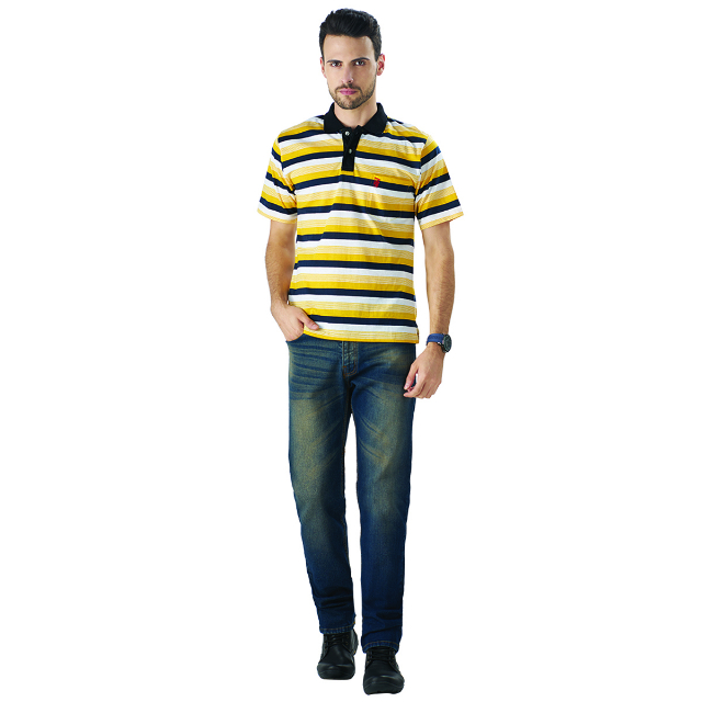 Kaos Polo Shirt Strip Kuning | LA MONTEE