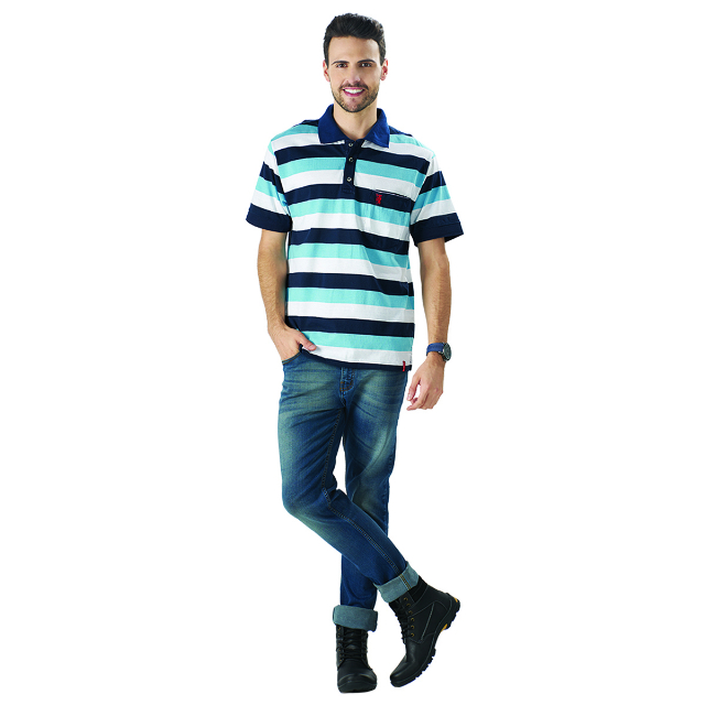 Kaos Polo Shirt Strip Biru | LA MONTEE