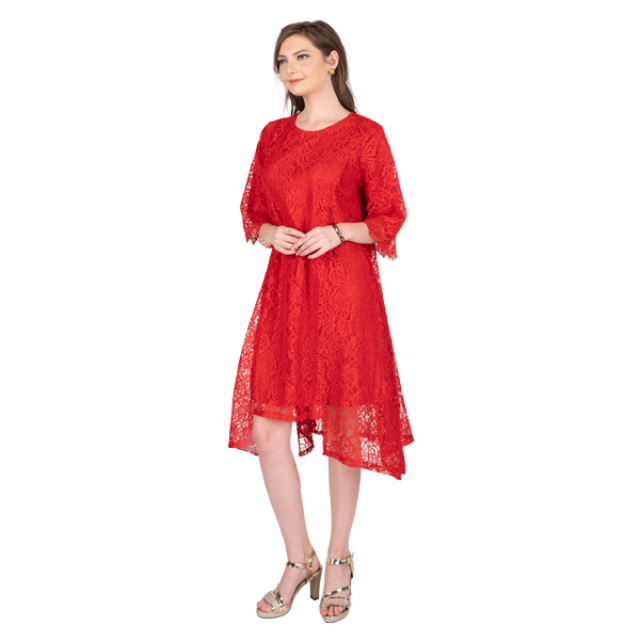 Dress Brukat Merah / Gaun Pesta | MABELLA