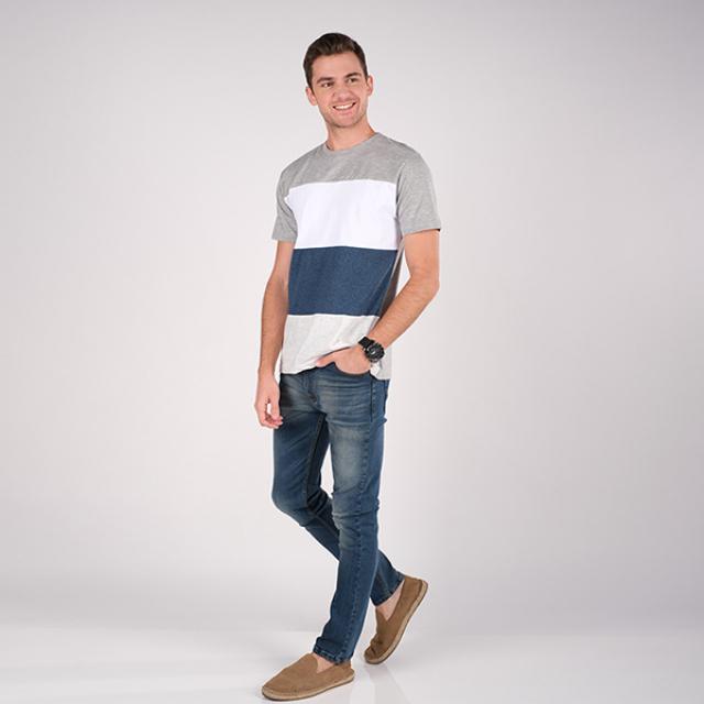 T-Shirt/Kaos Lengan Pendek Abu Garis Putih Biru | PUT IN ONE