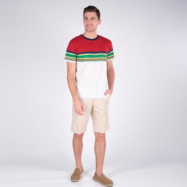 T-Shirt/Kaos Lengan Pendek Merah Garis | PUT IN ONE
