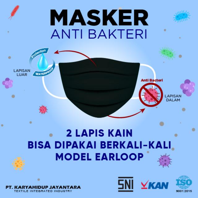 Masker Kain Anti Bakteri Earloop (Set isi 12) | AB MASKER