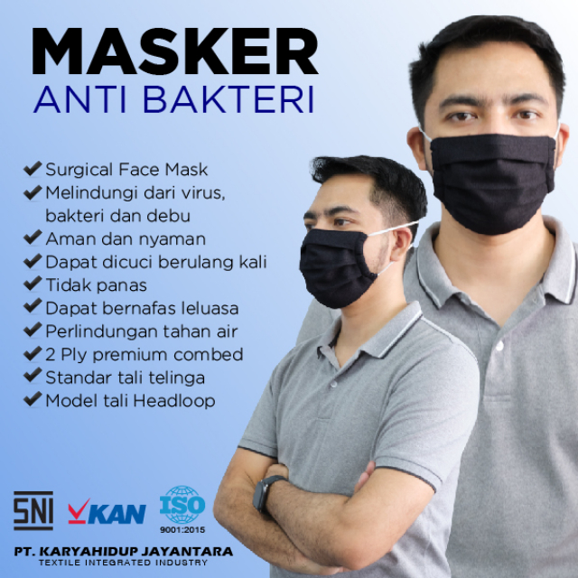 Masker Kain Anti Bakteri Headloop (Set isi 12) | AB MASKER