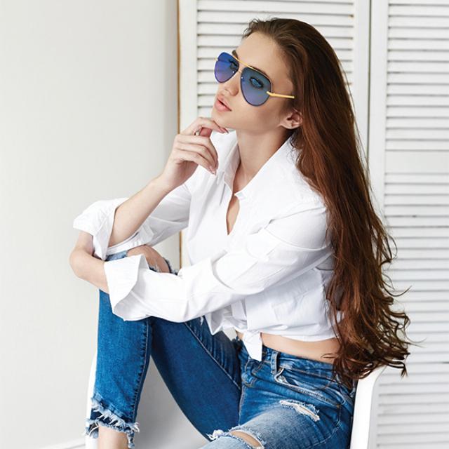 Kacamata Fashion Wanita Miror Blue | ALBARO