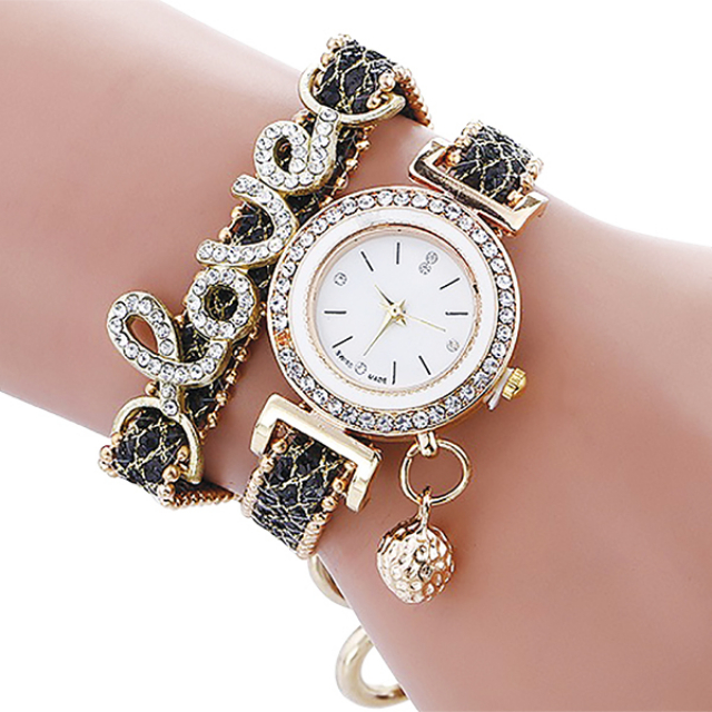 Jam Tangan Wanita Alloy Gold-Black | G-POP