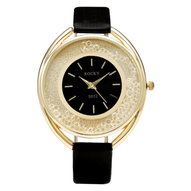 Jam Tangan Wanita Kulit/Leather Hitam | G-POP